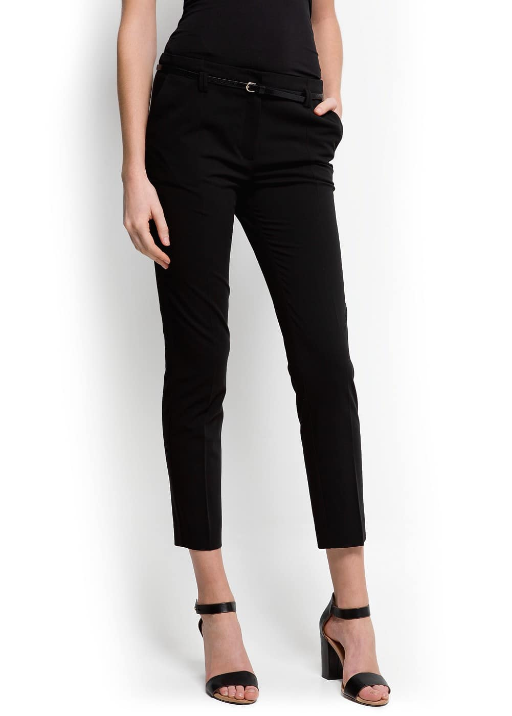 Cropped high waist trousers | MANGO