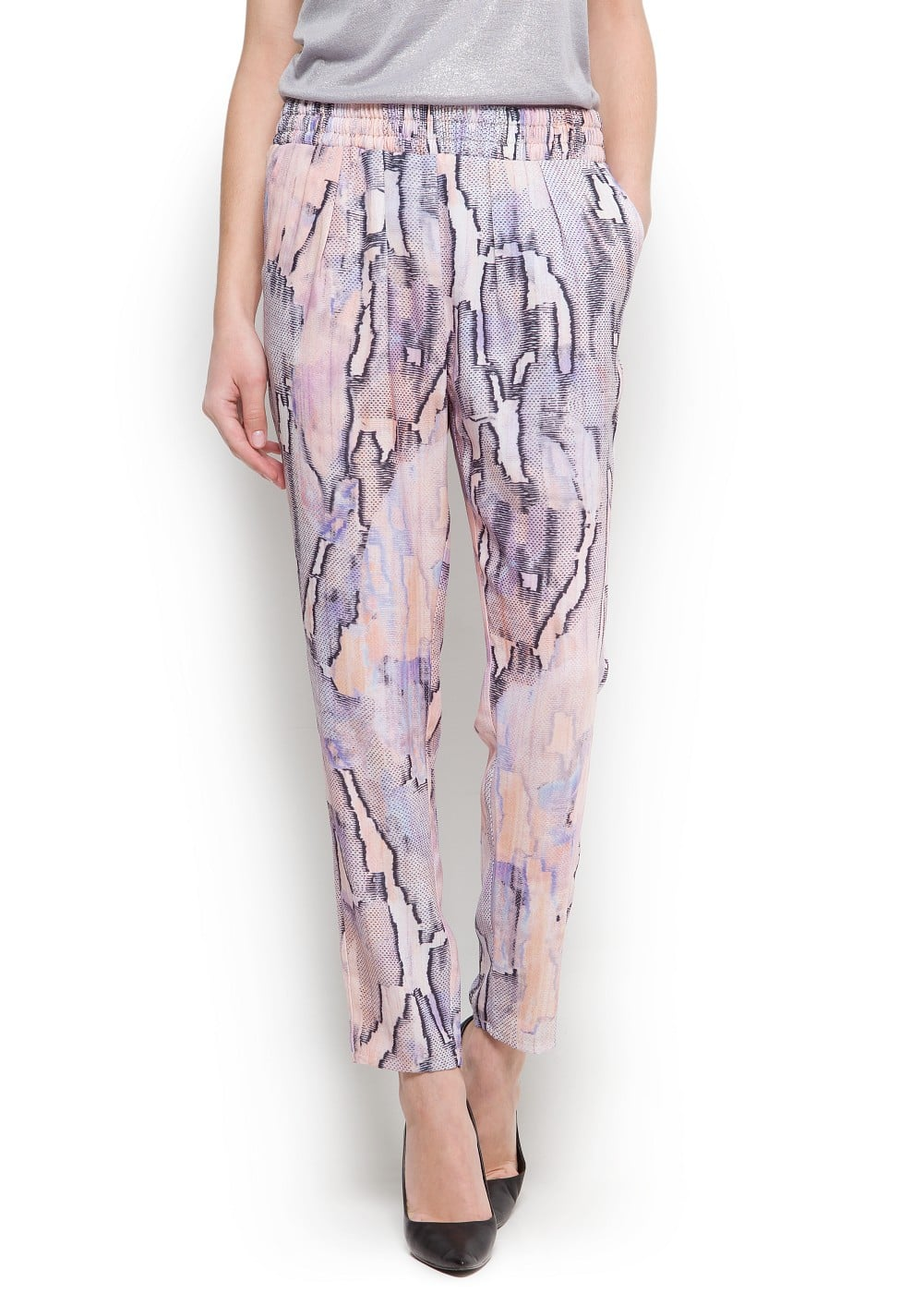 Printed tapered trousers