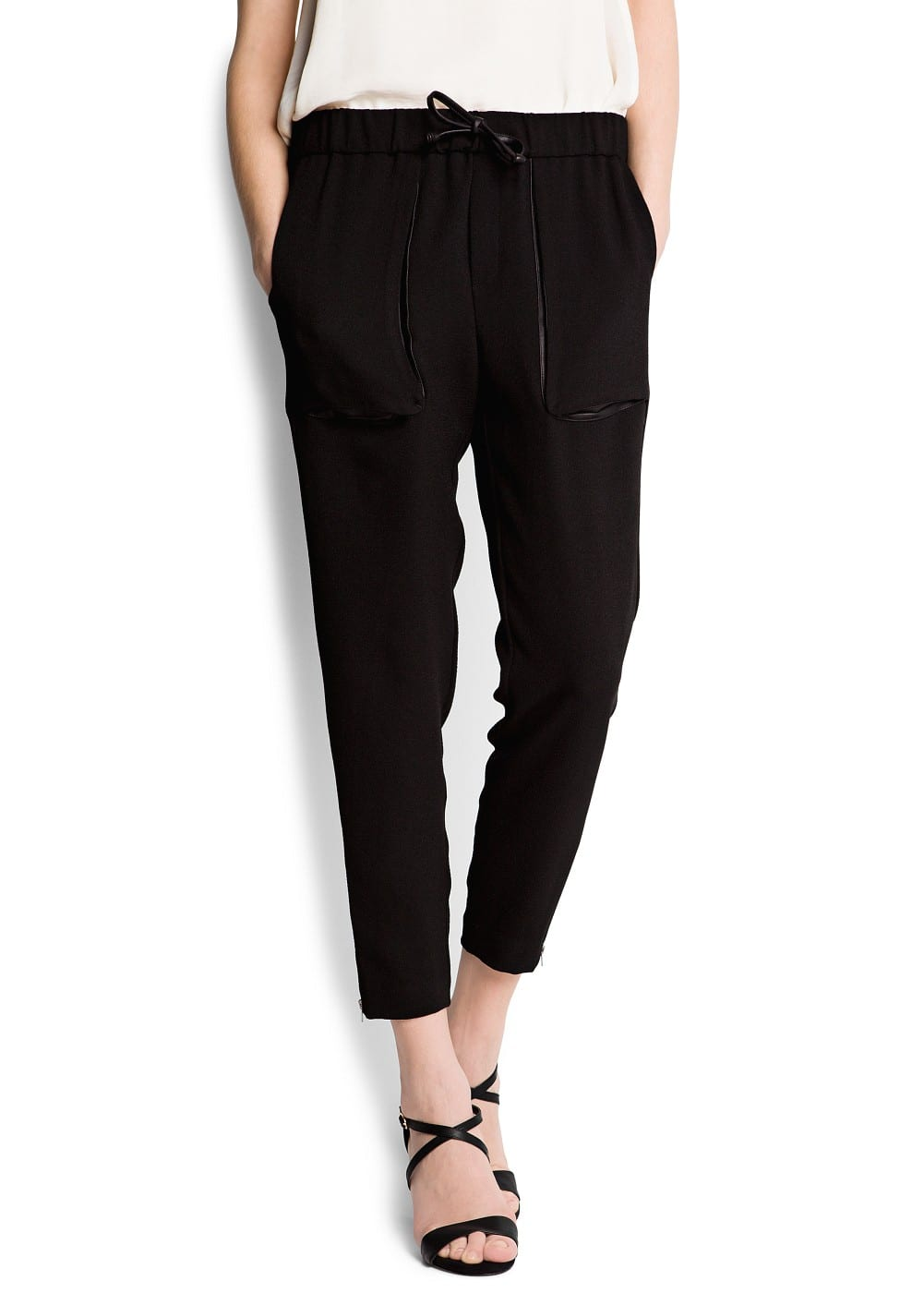 Tapered crepé trousers
