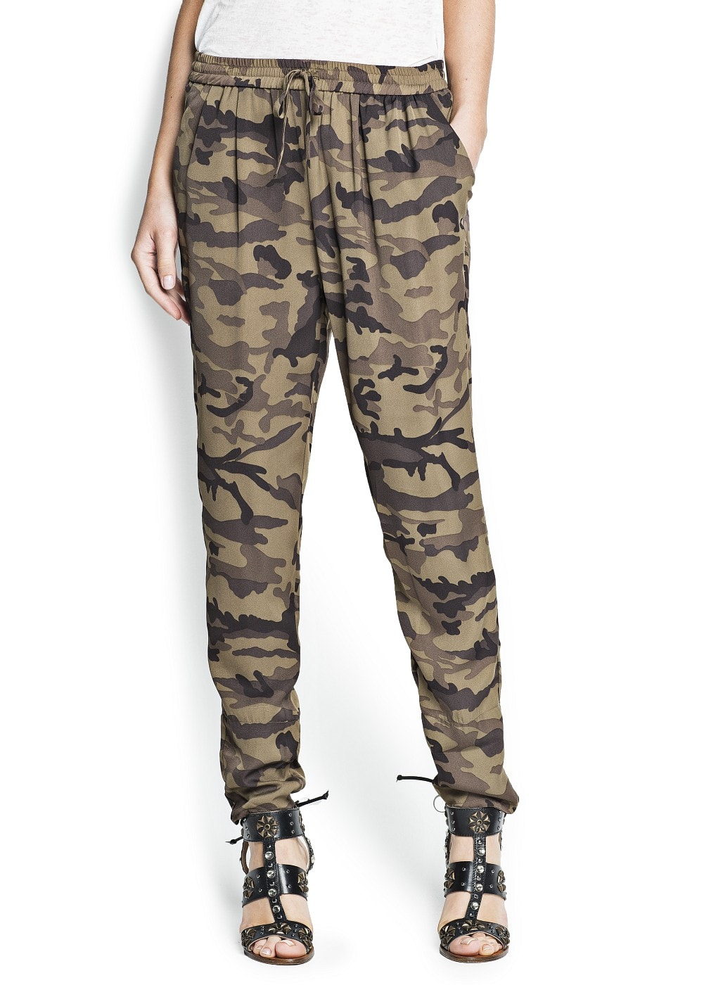Camo-print tapered trousers