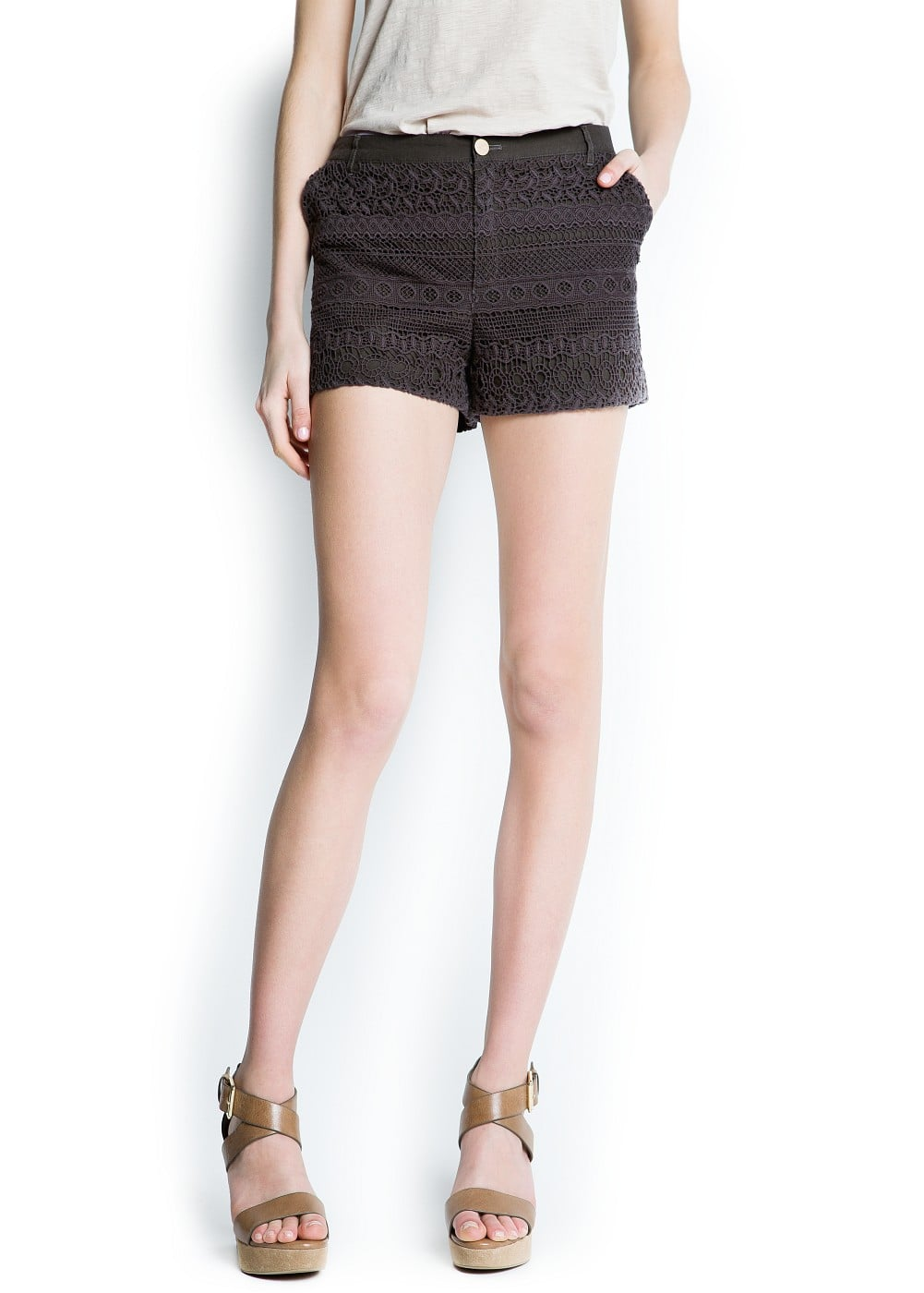 Guipure cotton shorts | MANGO