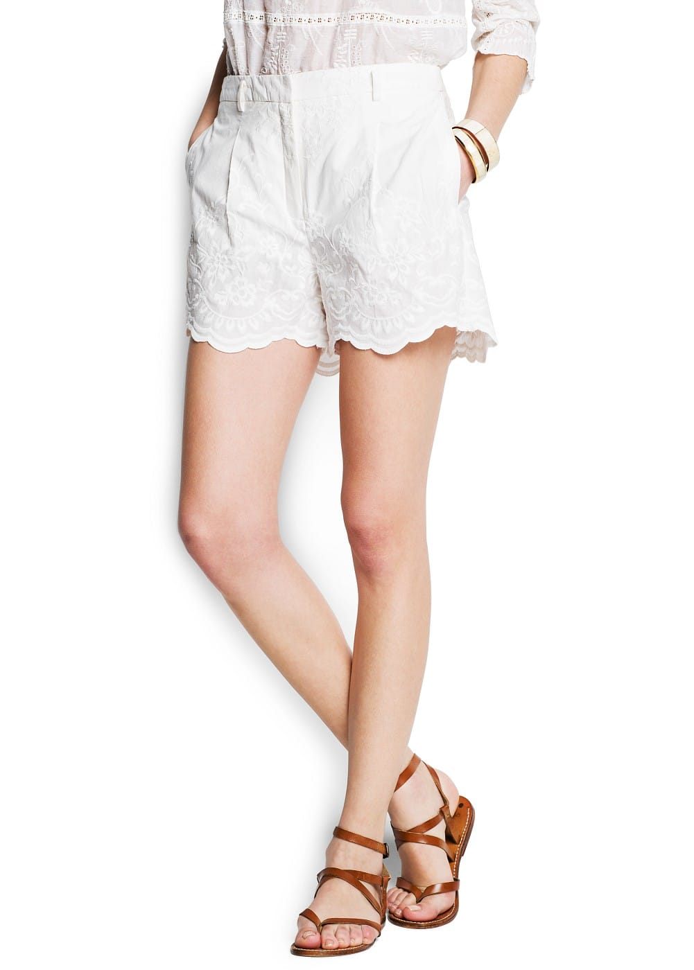 Cotton embroidered high-waist shorts
