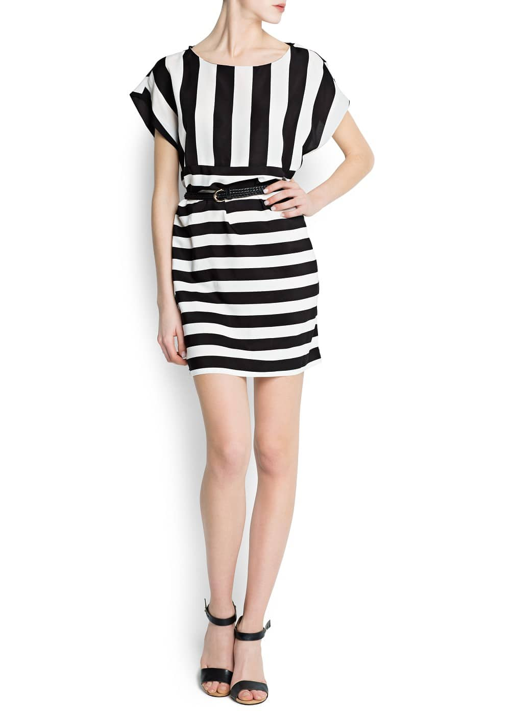 Striped dress with braided belt | MANGO
