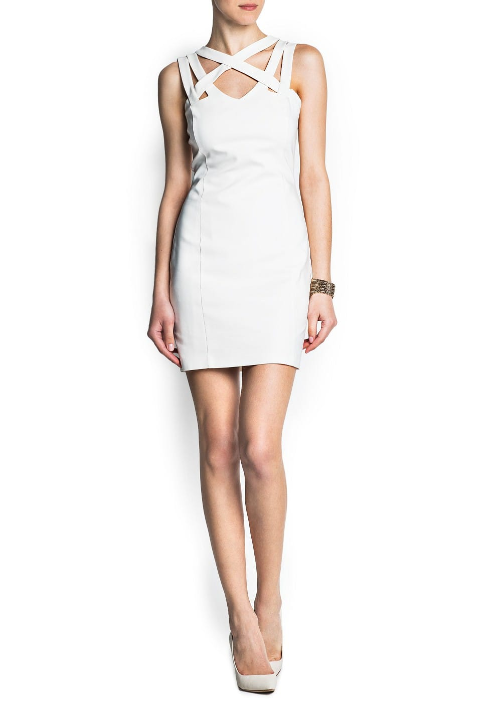 Cross strap bodycon dress | MANGO