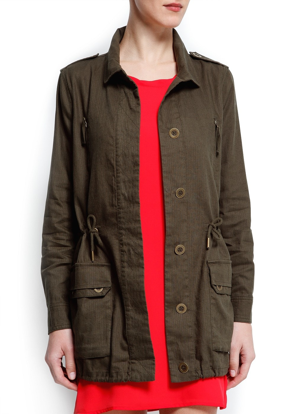 Linen cotton-blend trench