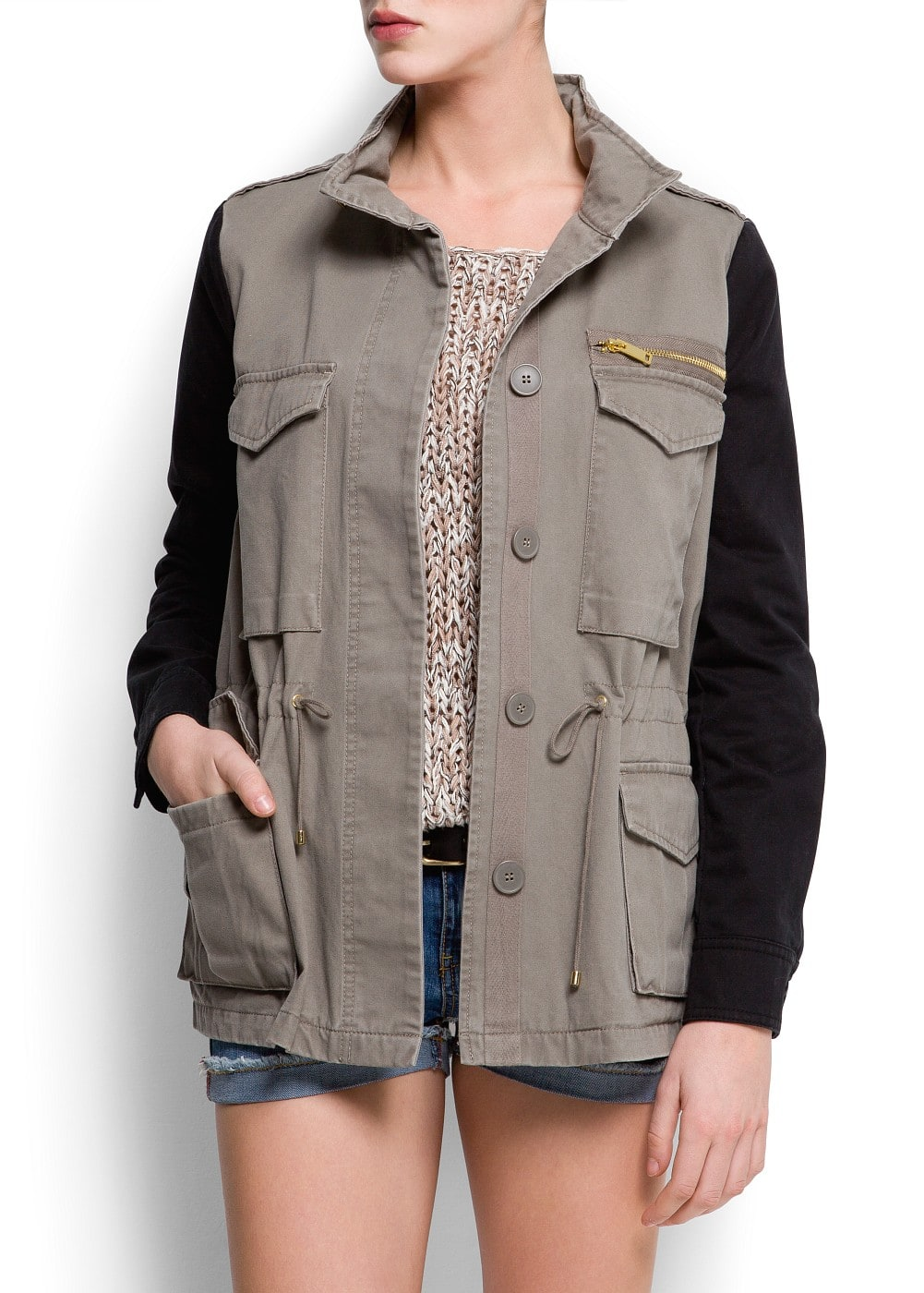 Contrast sleeves parka