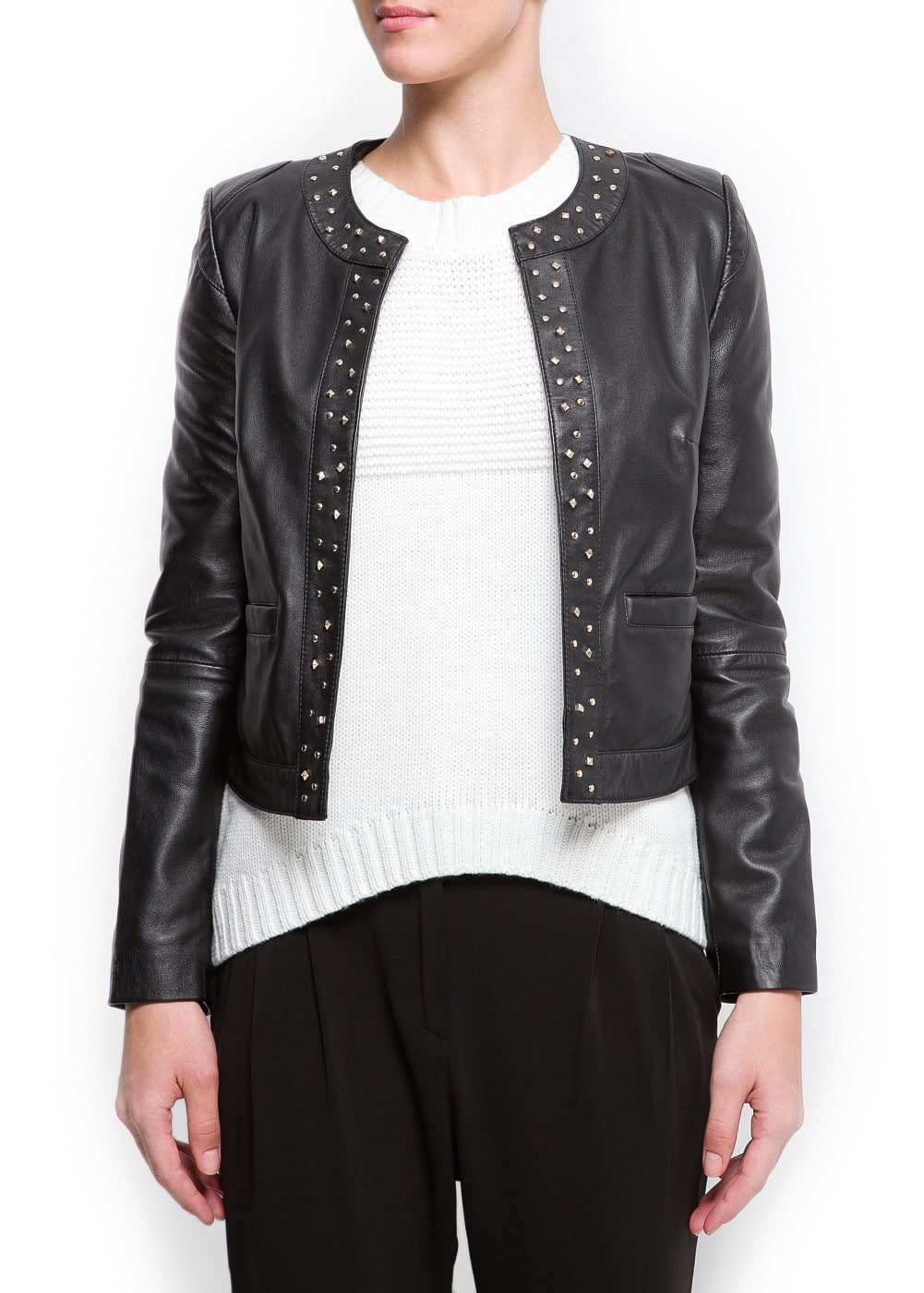 Studded leather jacket | MANGO