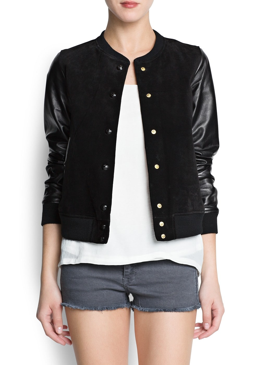 Leather sleeved bomber jacket | MANGO