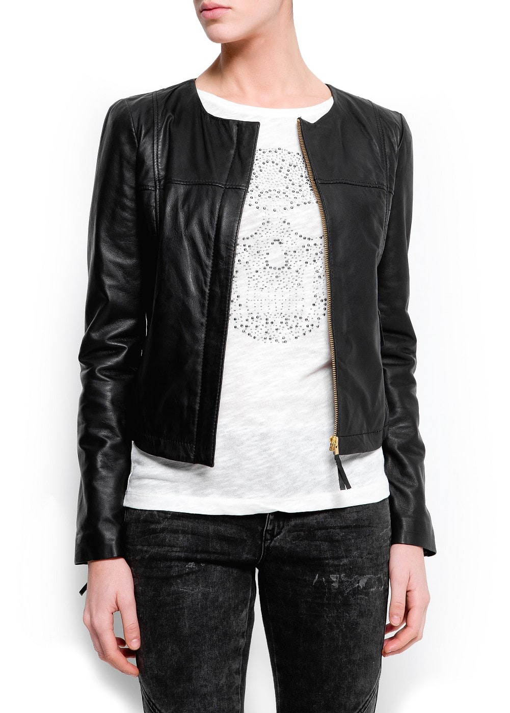 Stitched leather jacket | MANGO