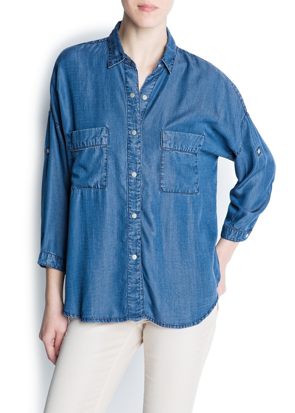 Oversized denim shirt | MANGO