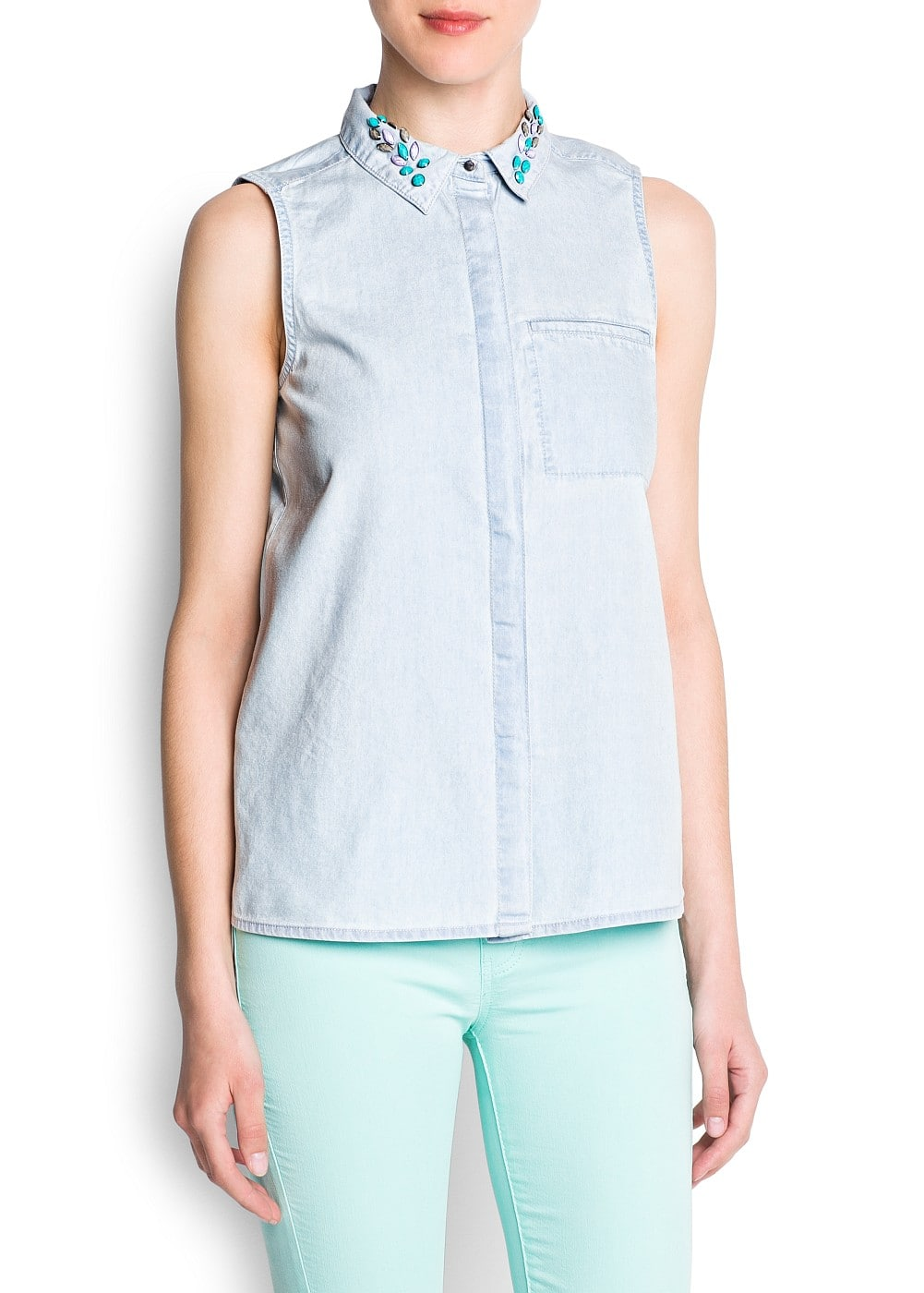 Crystals denim shirt | MANGO