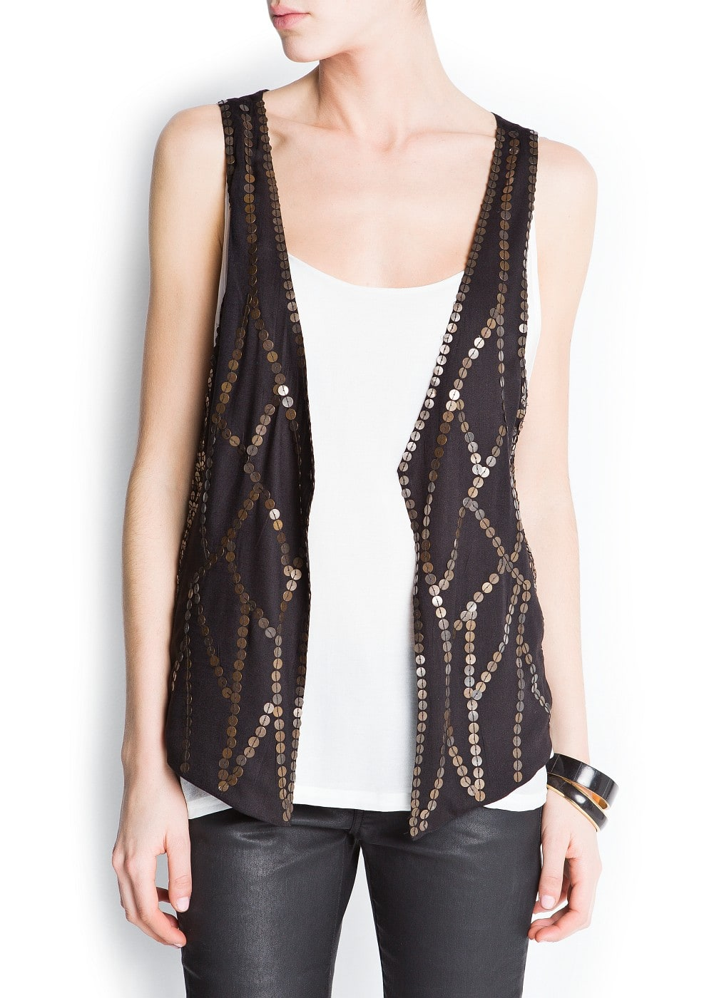 Metal embellished vest