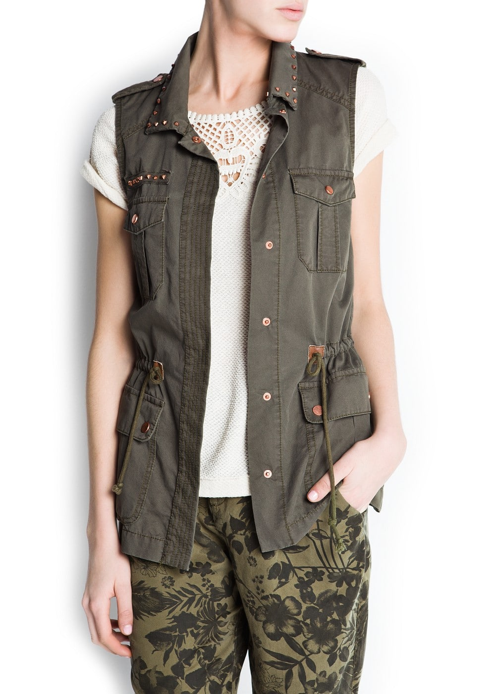 Studded military style vest