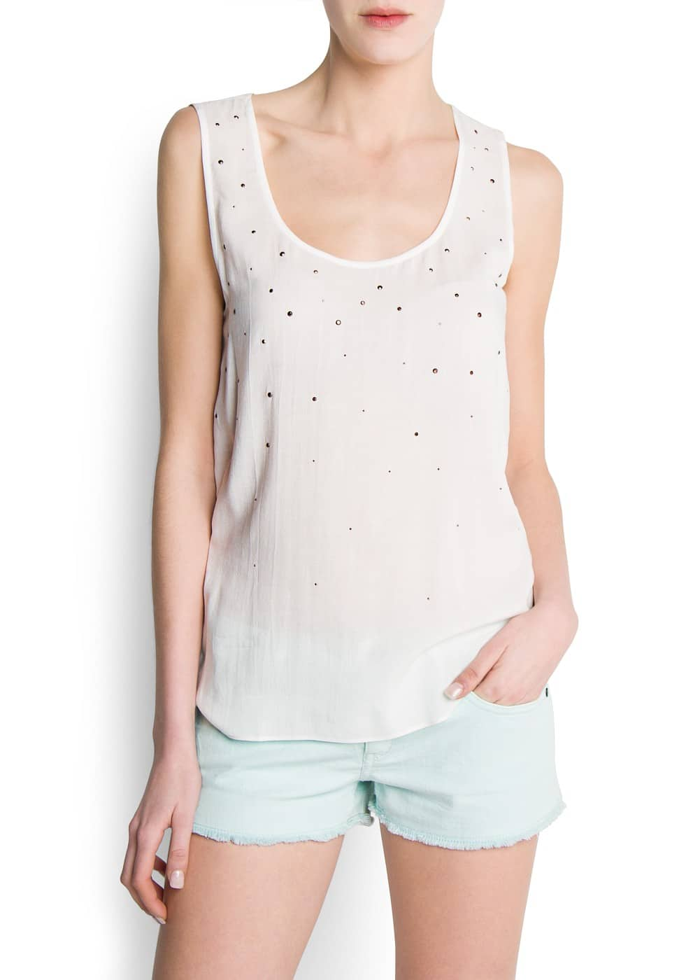 Strass embellished top