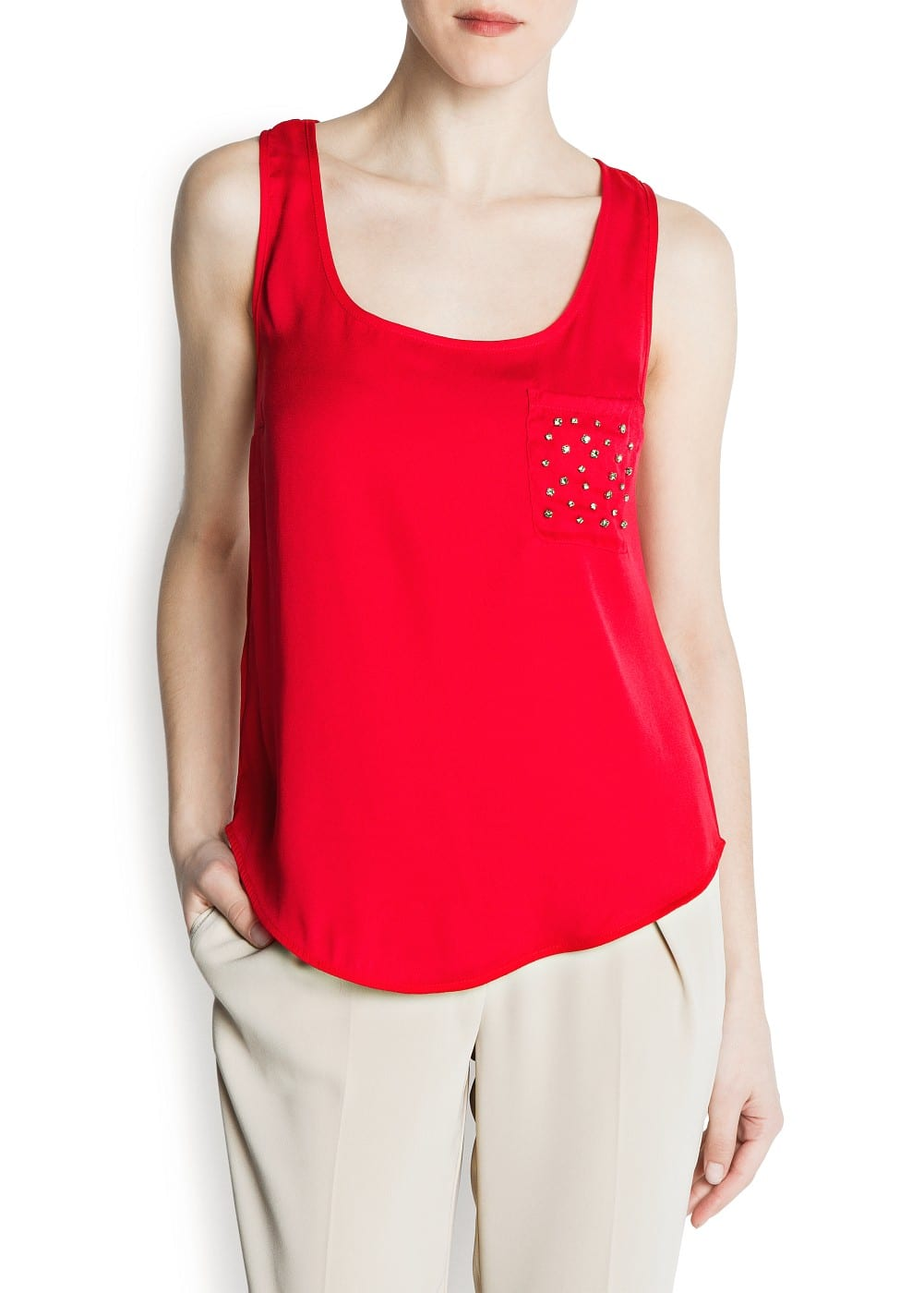 Crystal embellished top | MANGO