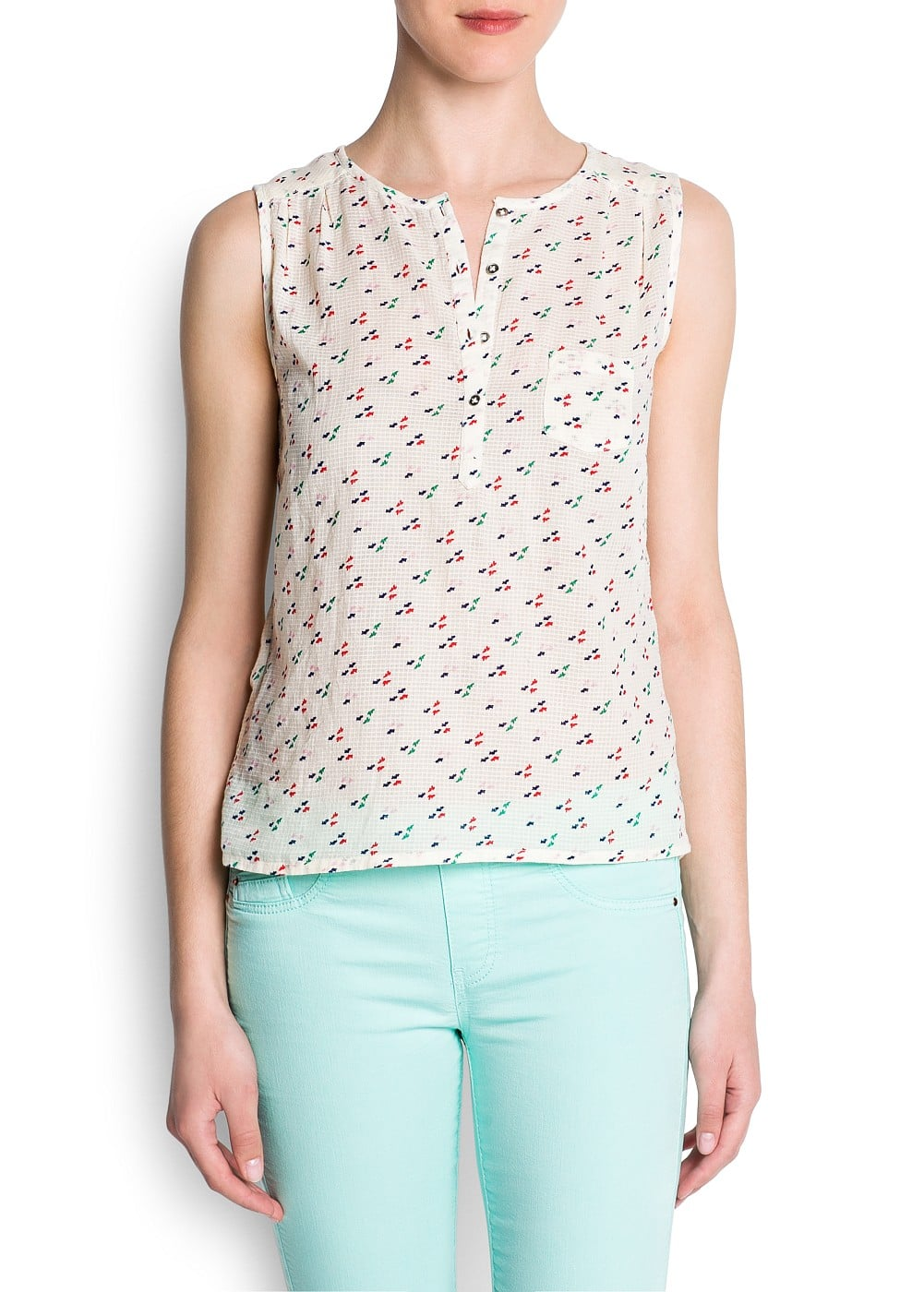 Textured cotton printed top