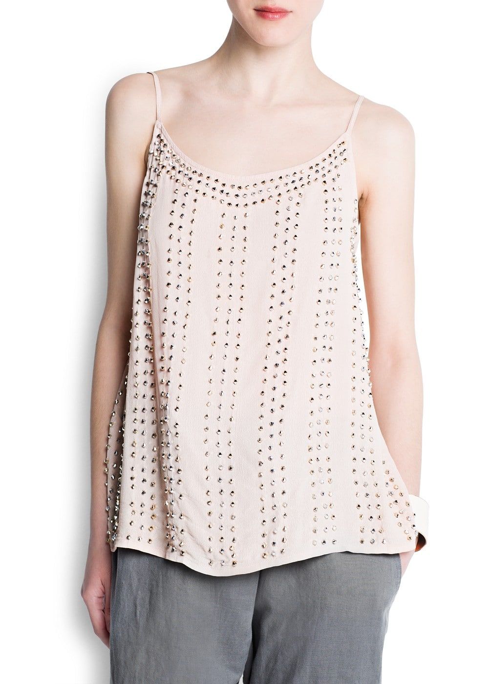 Metallic beaded top