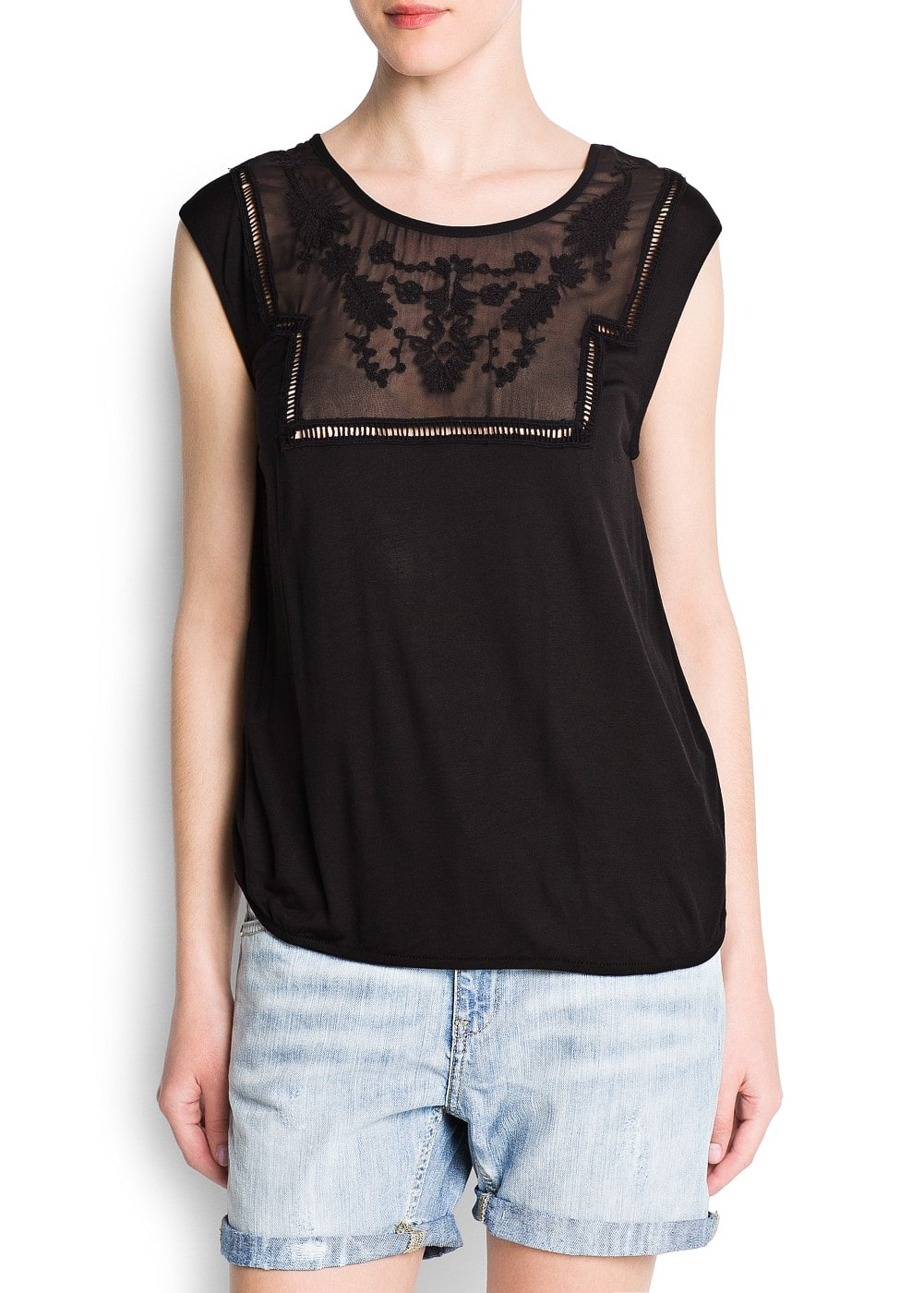 Embroidered sheer detail top