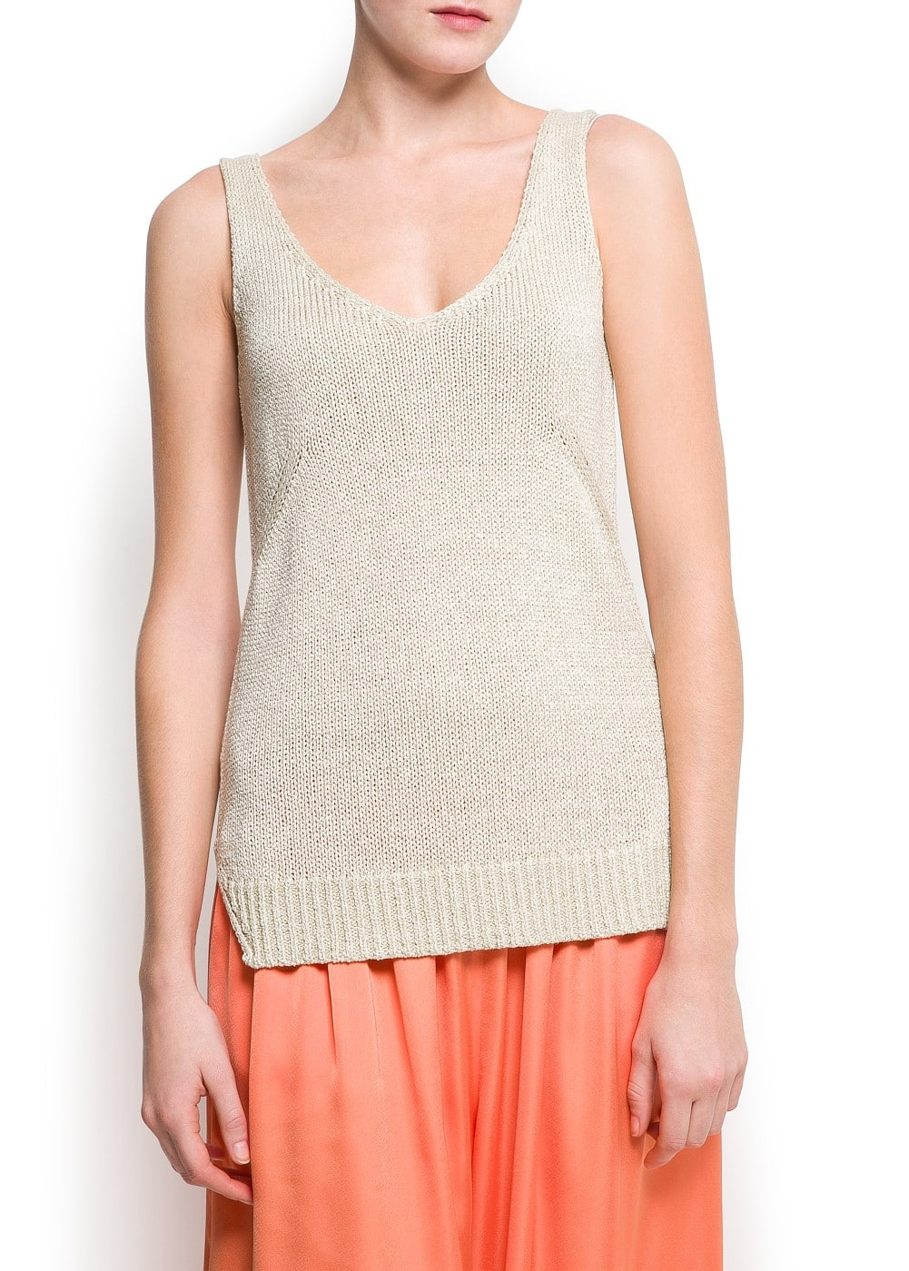 Metallic knit tank