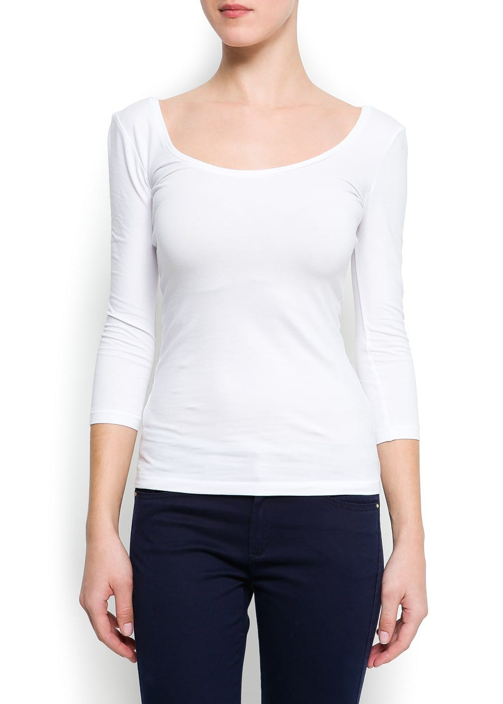 Scoop neck cotton t-shirt | MANGO