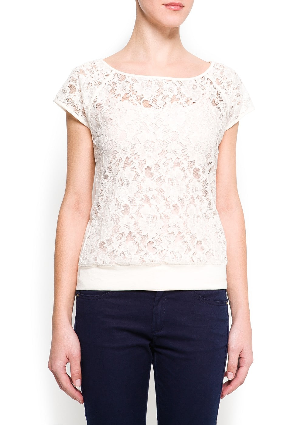 Lace panel t-shirt | MANGO