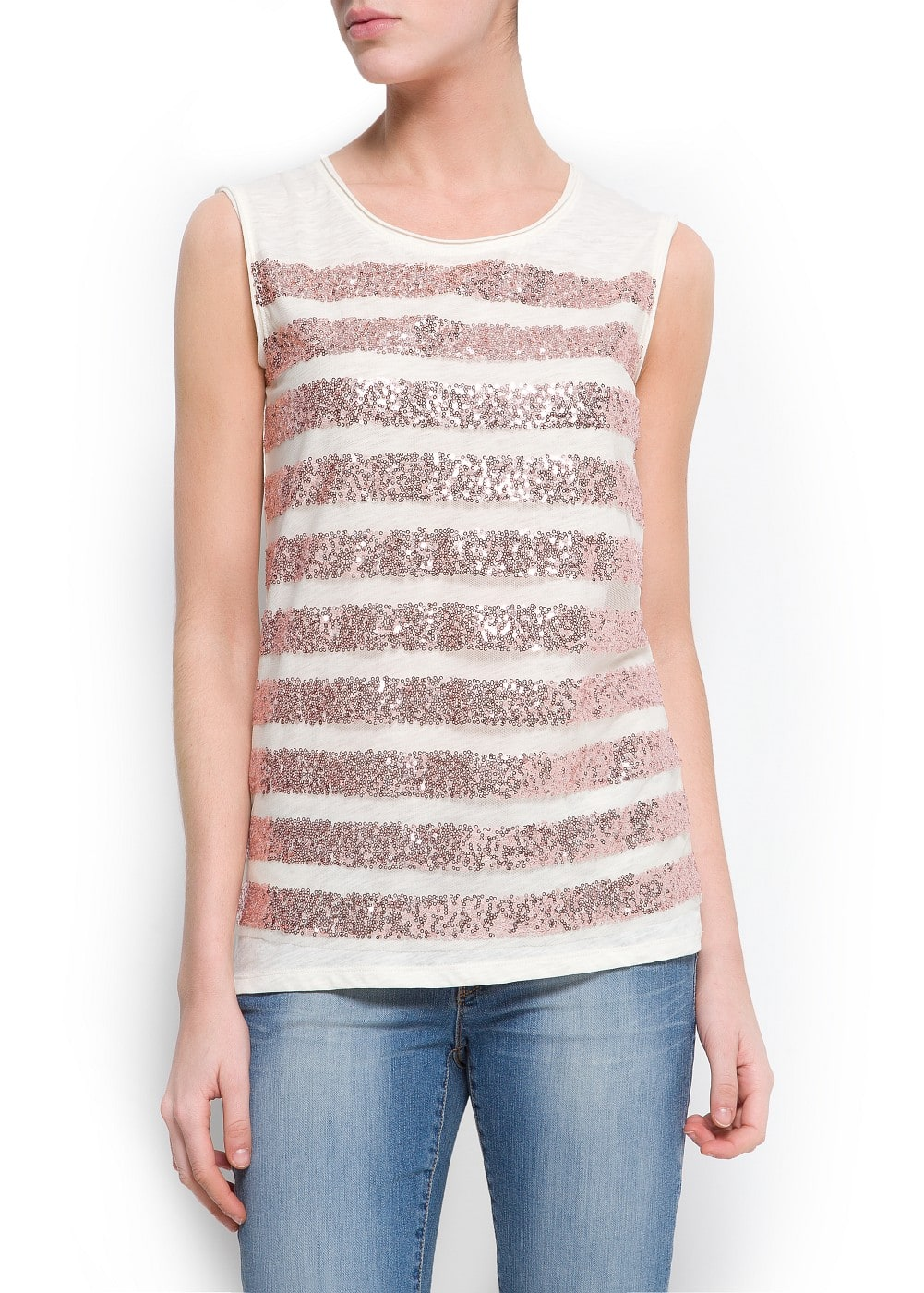 Sequined striped t-shirt | MANGO
