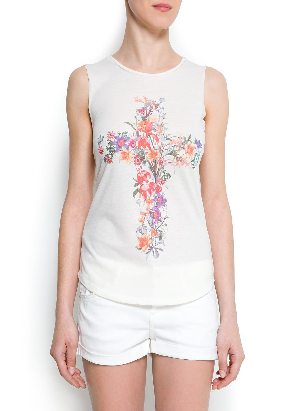Floral print cross t-shirt