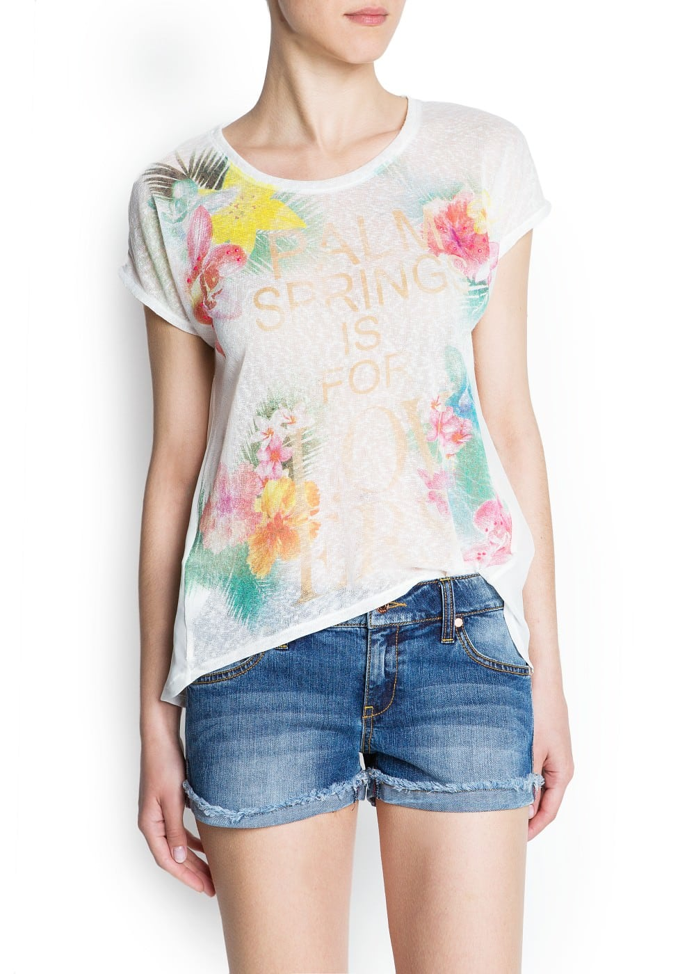 Neon strass floral t-shirt