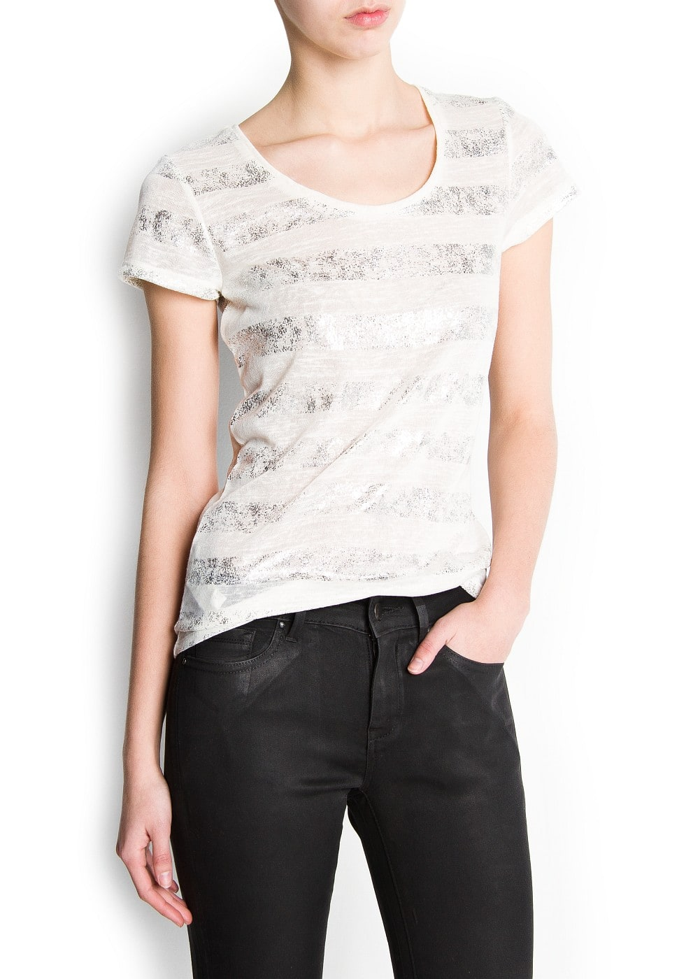 Metallic strips t-shirt