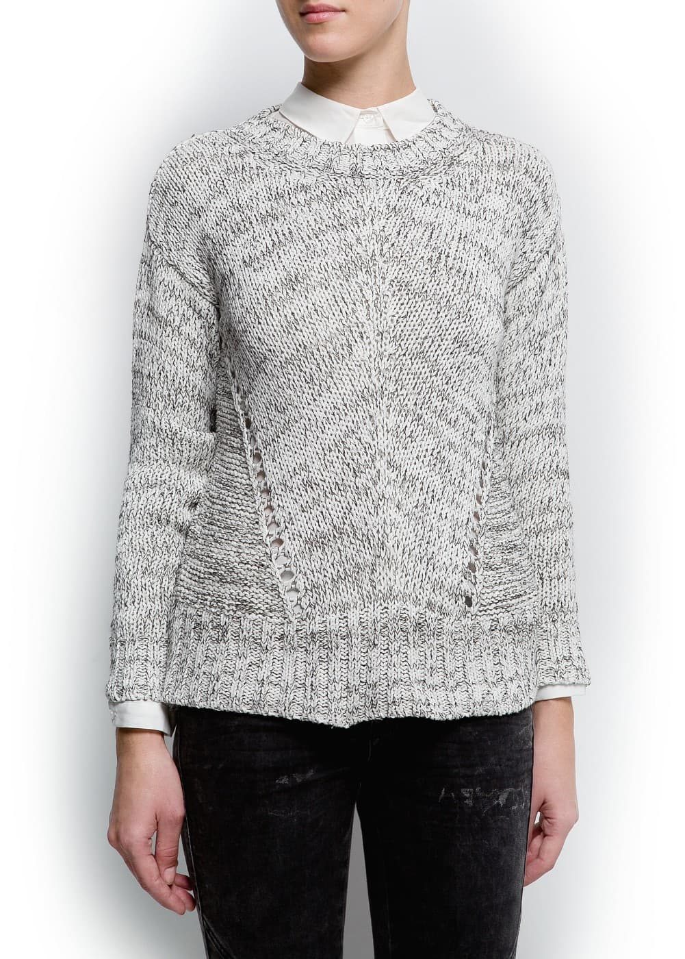 Flecked openwork sweater