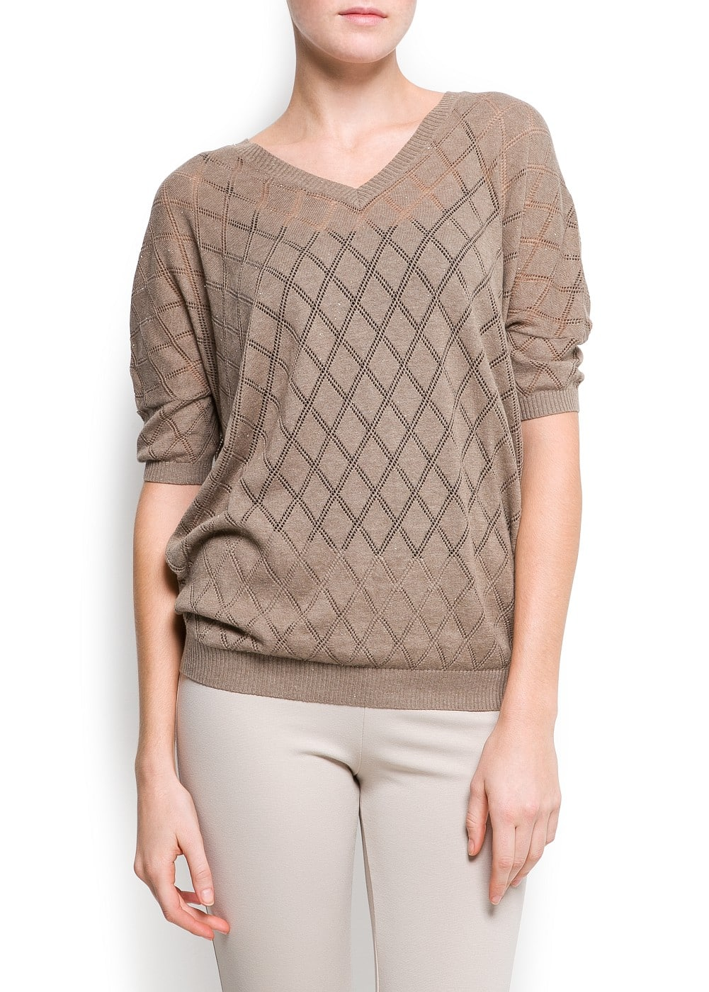 Diamond openwork sweater | MANGO