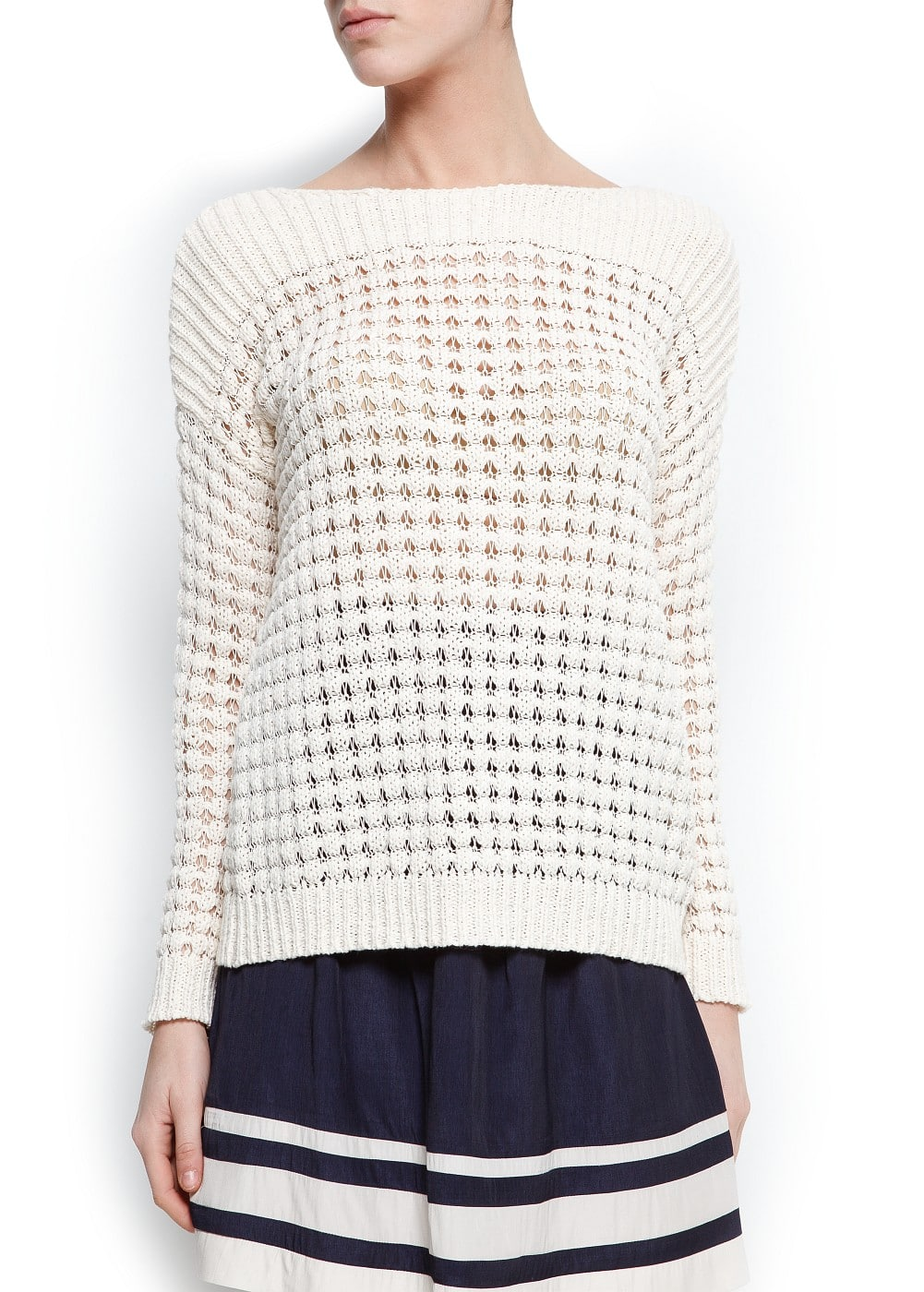 Open work textured sweater