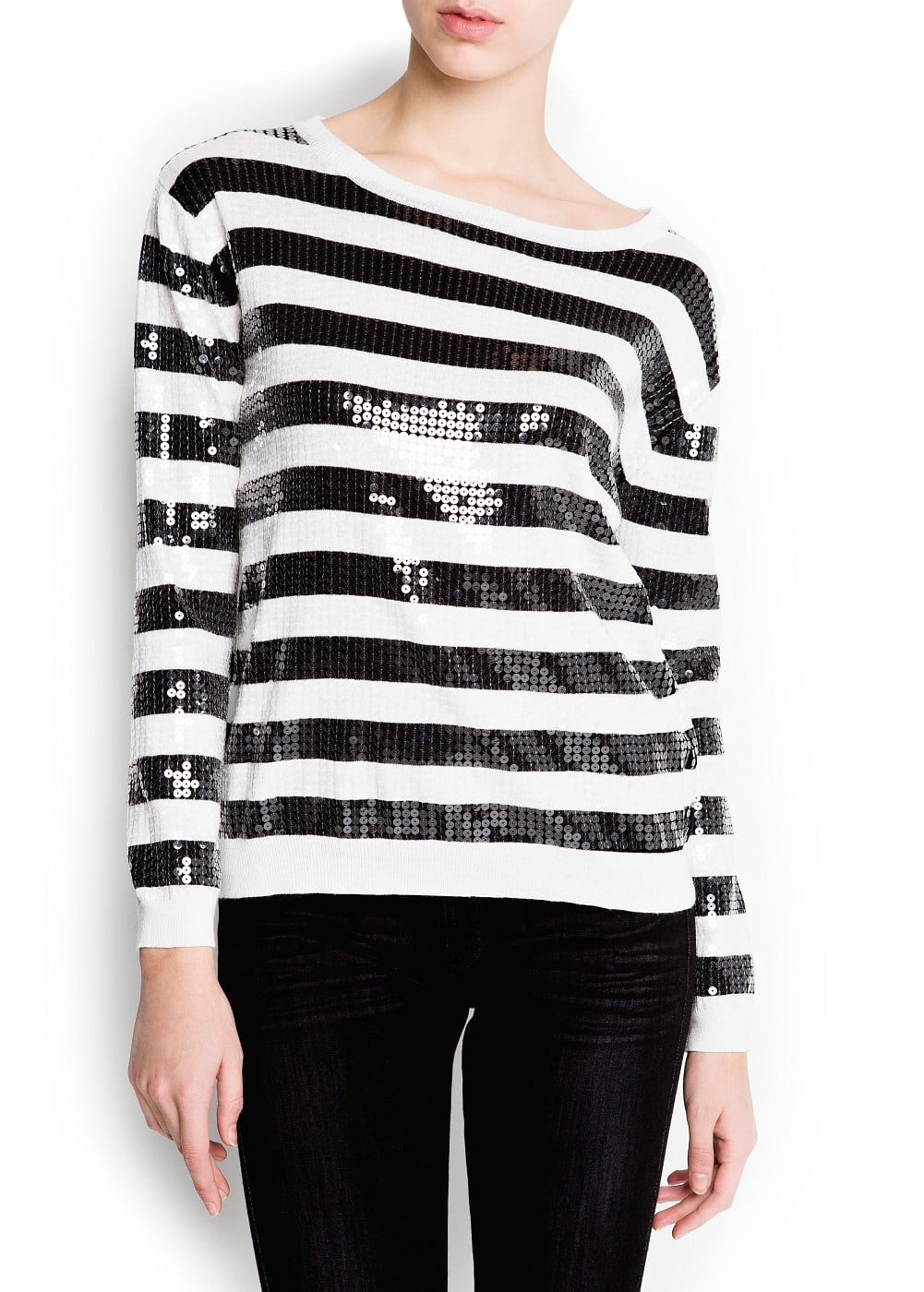 Sequined stripes sweater | MANGO