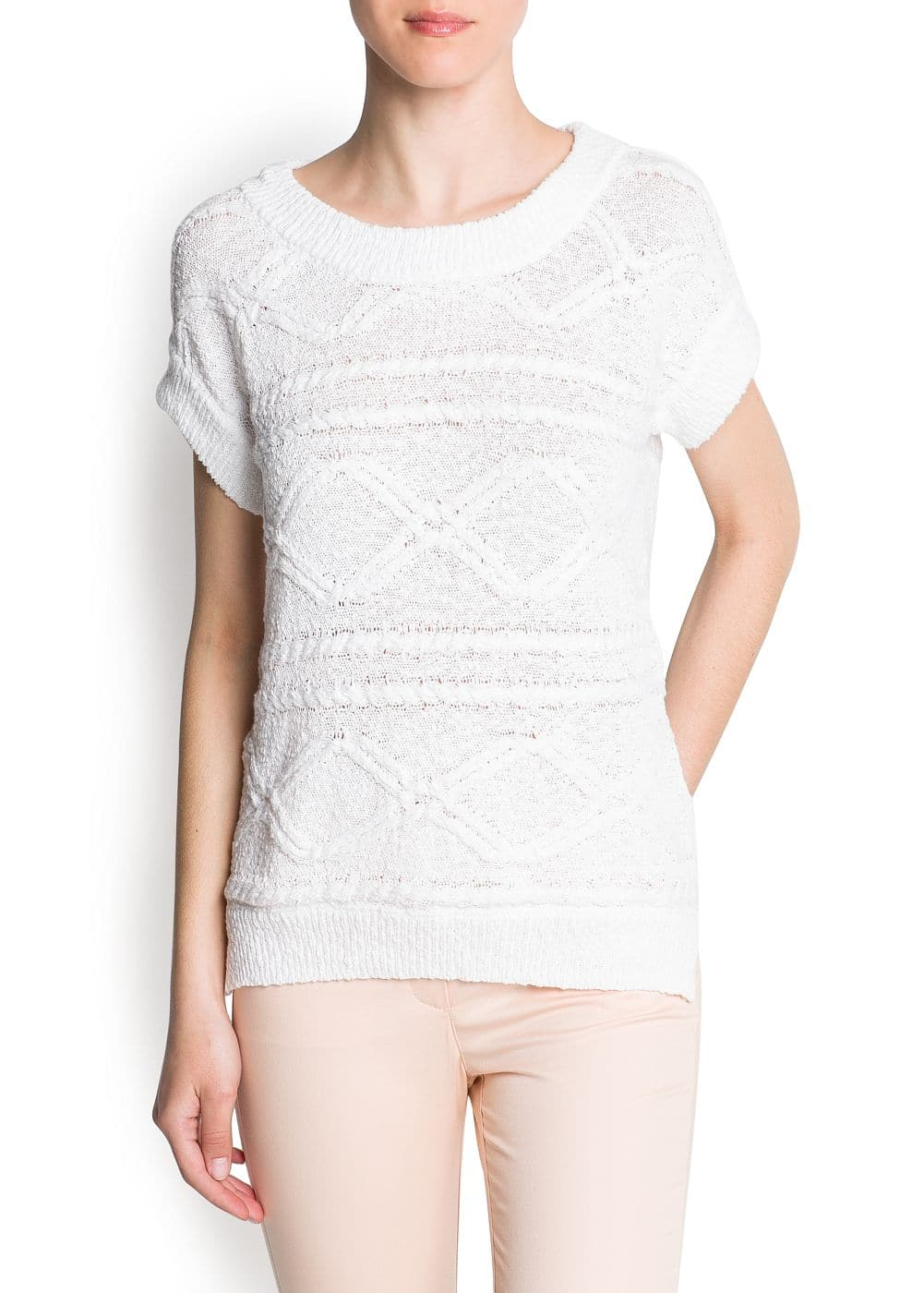 Cable-knit cotton knit jumper