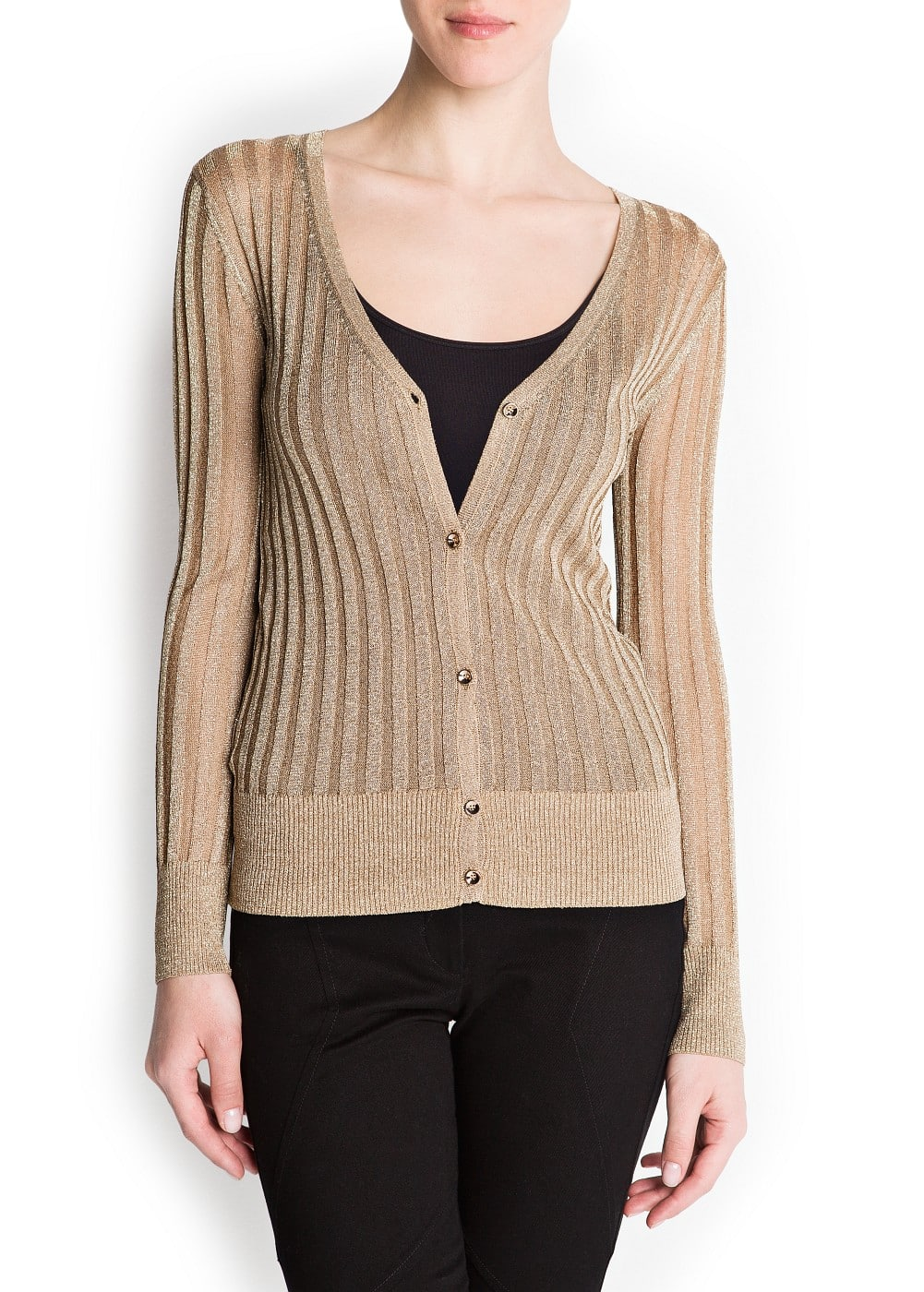 Metallic ribbed cardigan | MANGO
