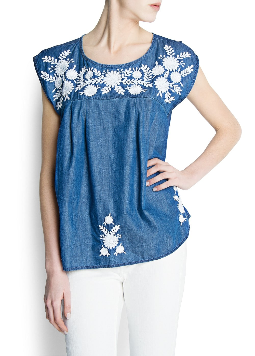Embroidered flowers denim blouse