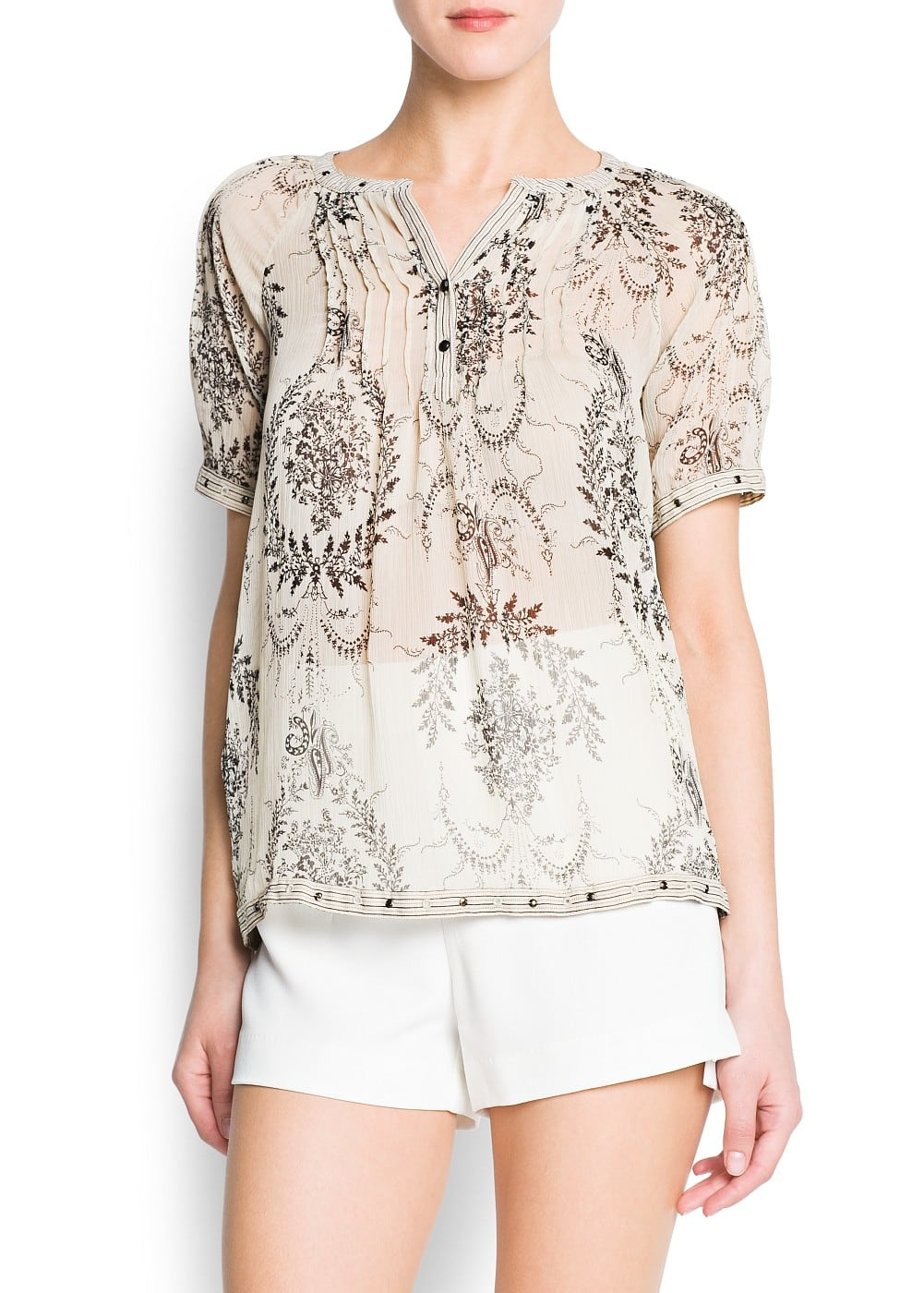 Pleated chiffon printed blouse