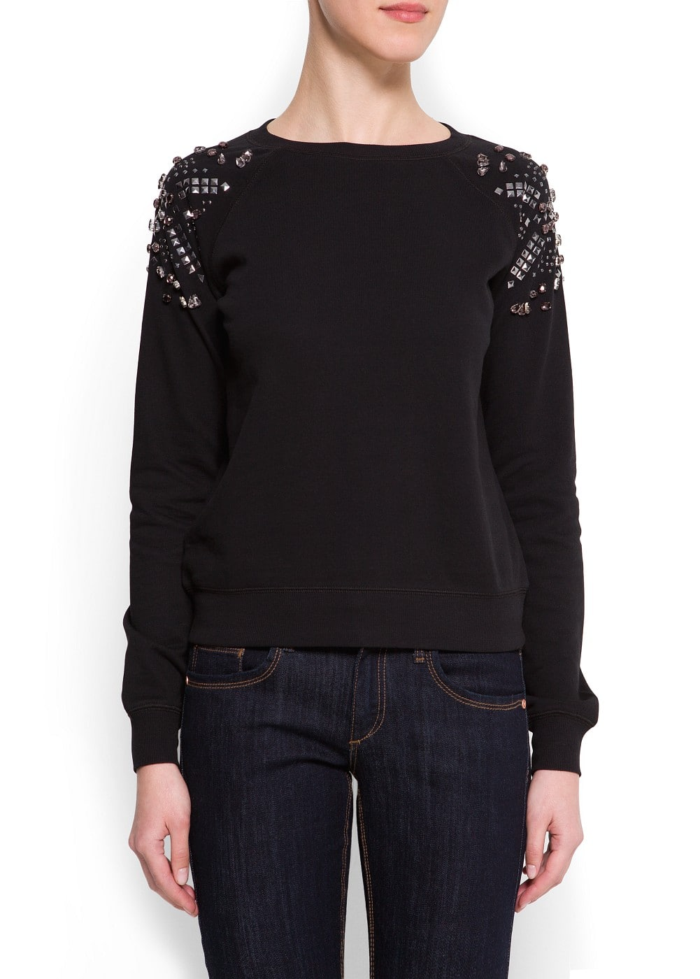 Embellished shoulders sweatshirt