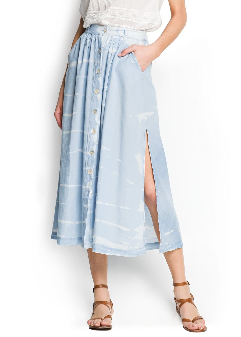 Tie-dye effect cotton long skirt