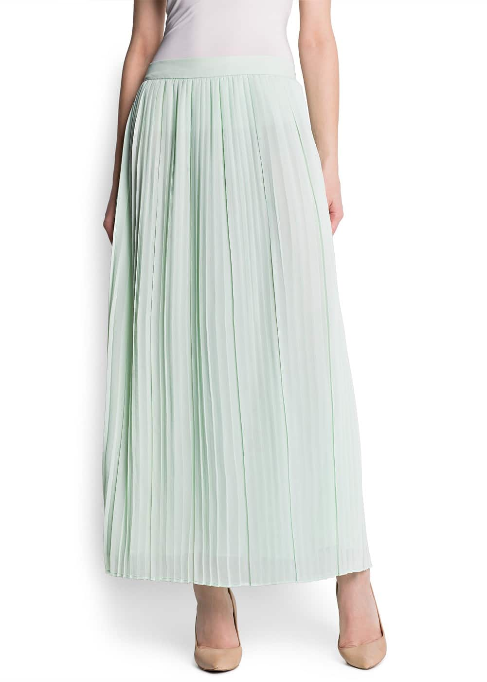 Pleated chiffon long skirt | MANGO