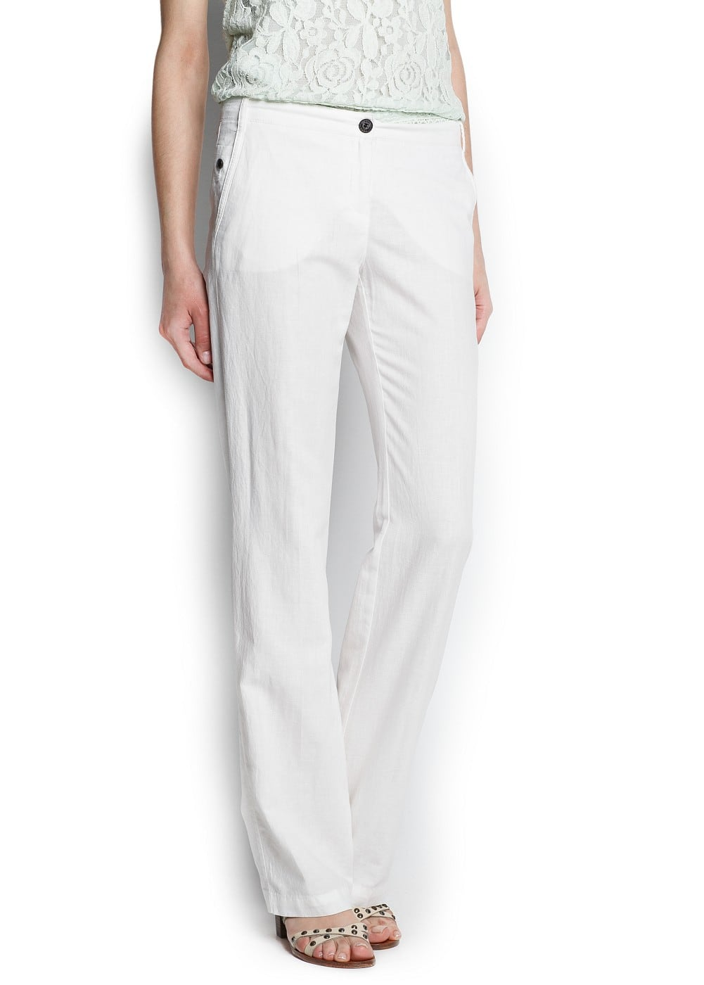 Linen cotton-blend trousers