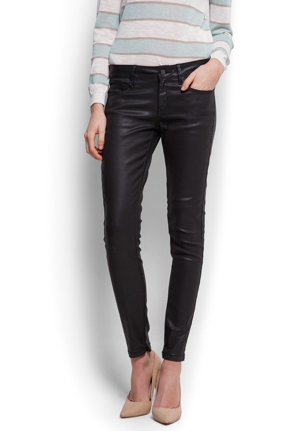 Coated super slim jeans