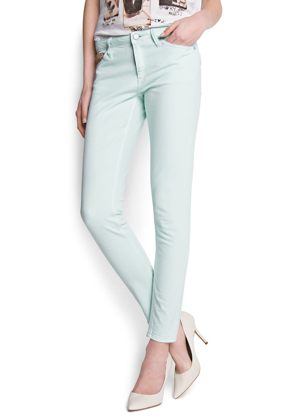 Sequin slim-fit jeans