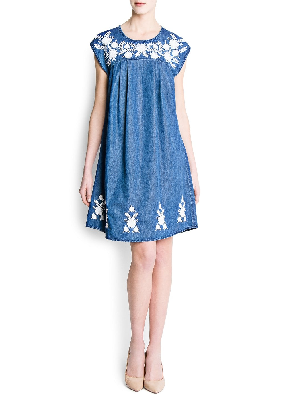 Embroidered flowers denim dress