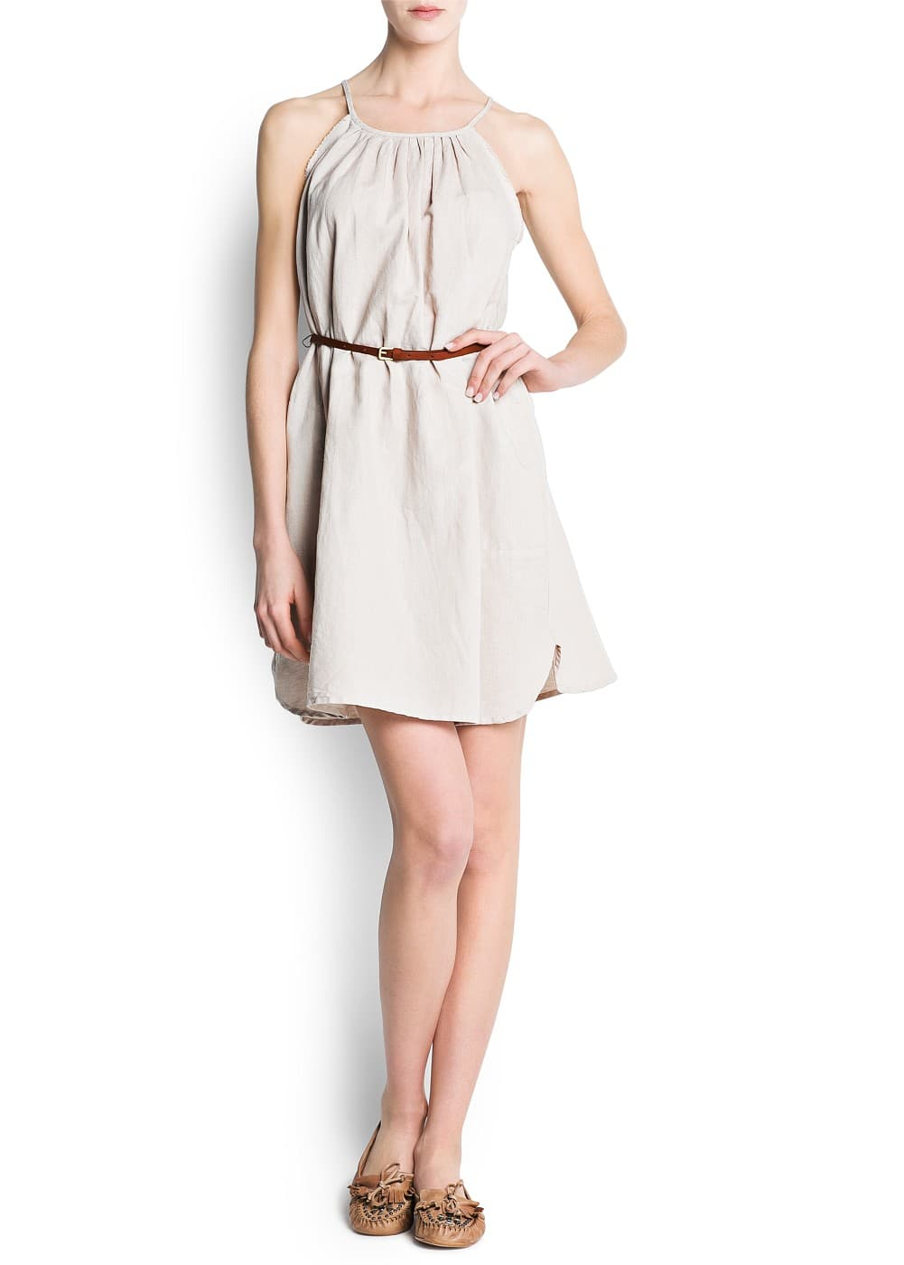 Linen cotton-blend dress