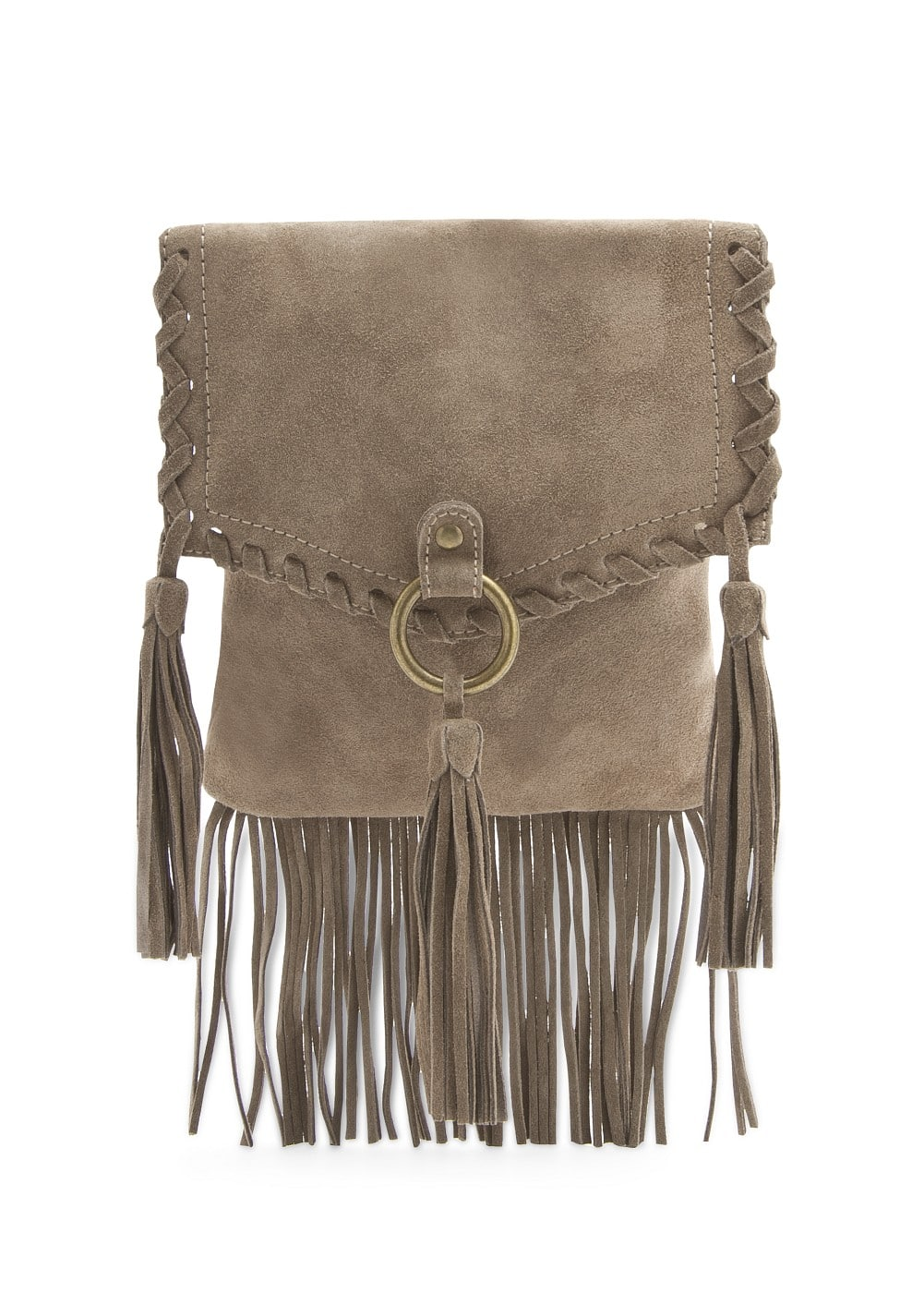 Tasseled suede mini bag