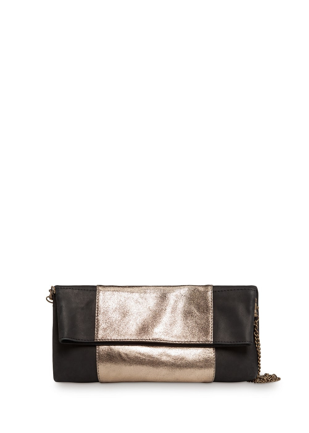 Metallic band leather clutch