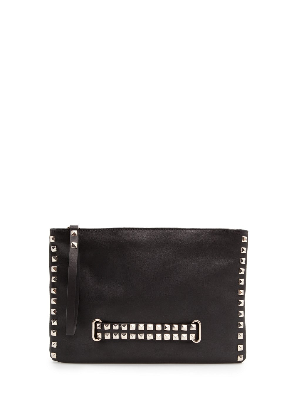 Studded leather clutch