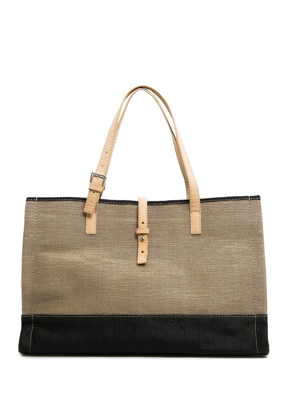 Two-tone raffia shopper bag