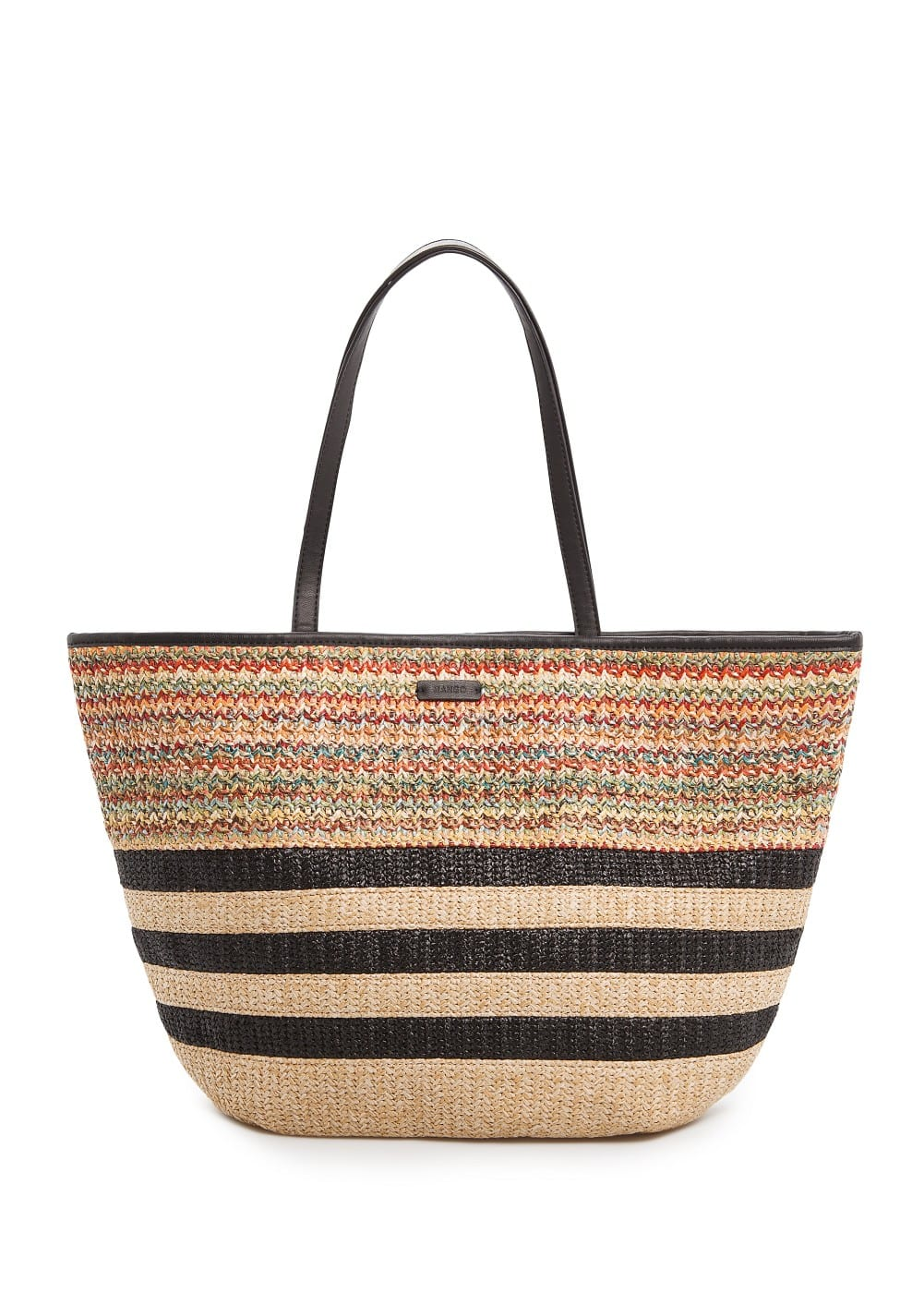 Multicolored raffia shopper bag